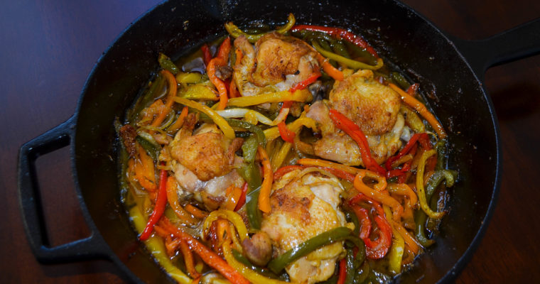 Crispy Chicken Thighs with Peppers