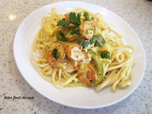 Shrimp Coconut Curry Sauce served with Linguine