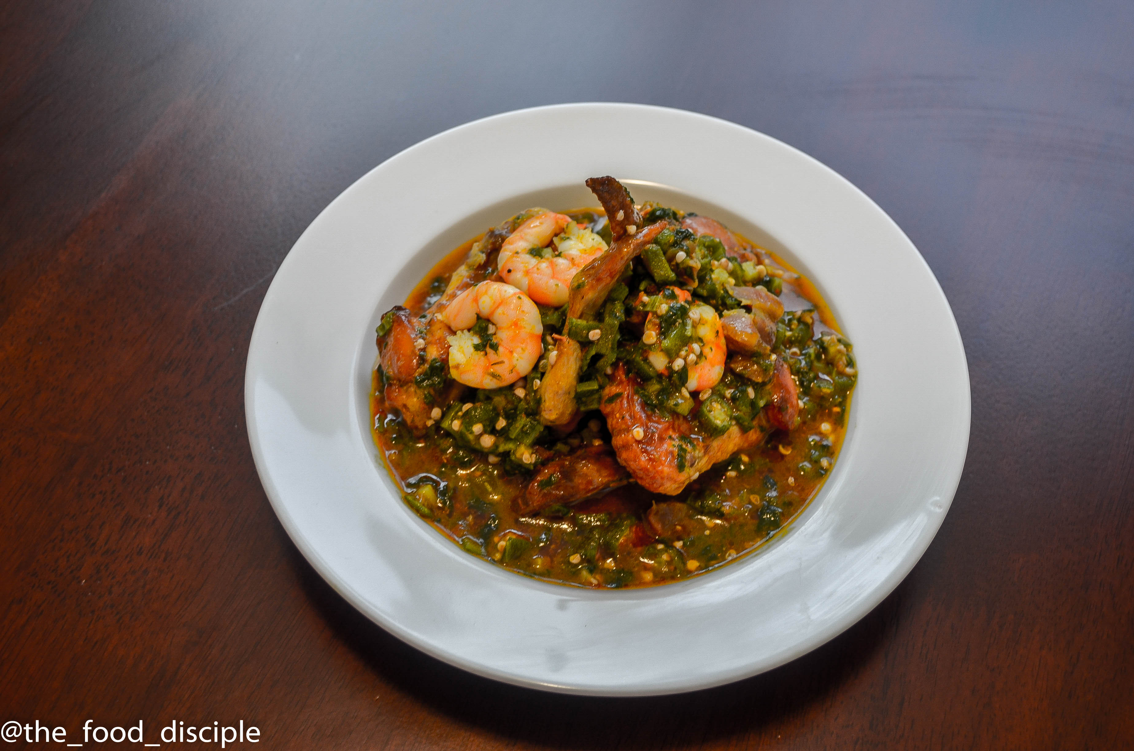 Spicy Okro Soup and Chicken Wings