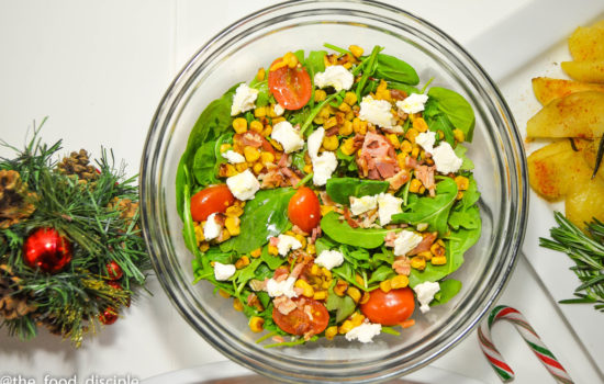 Grilled Corn, Tomato, Spinach and Arugula Salad