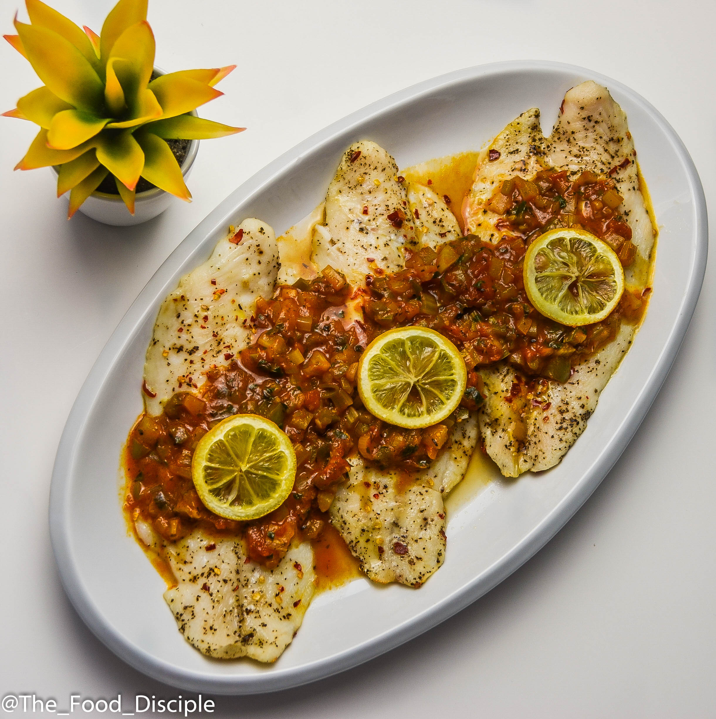 Creole Sauce served on Grilled Basa Fillet