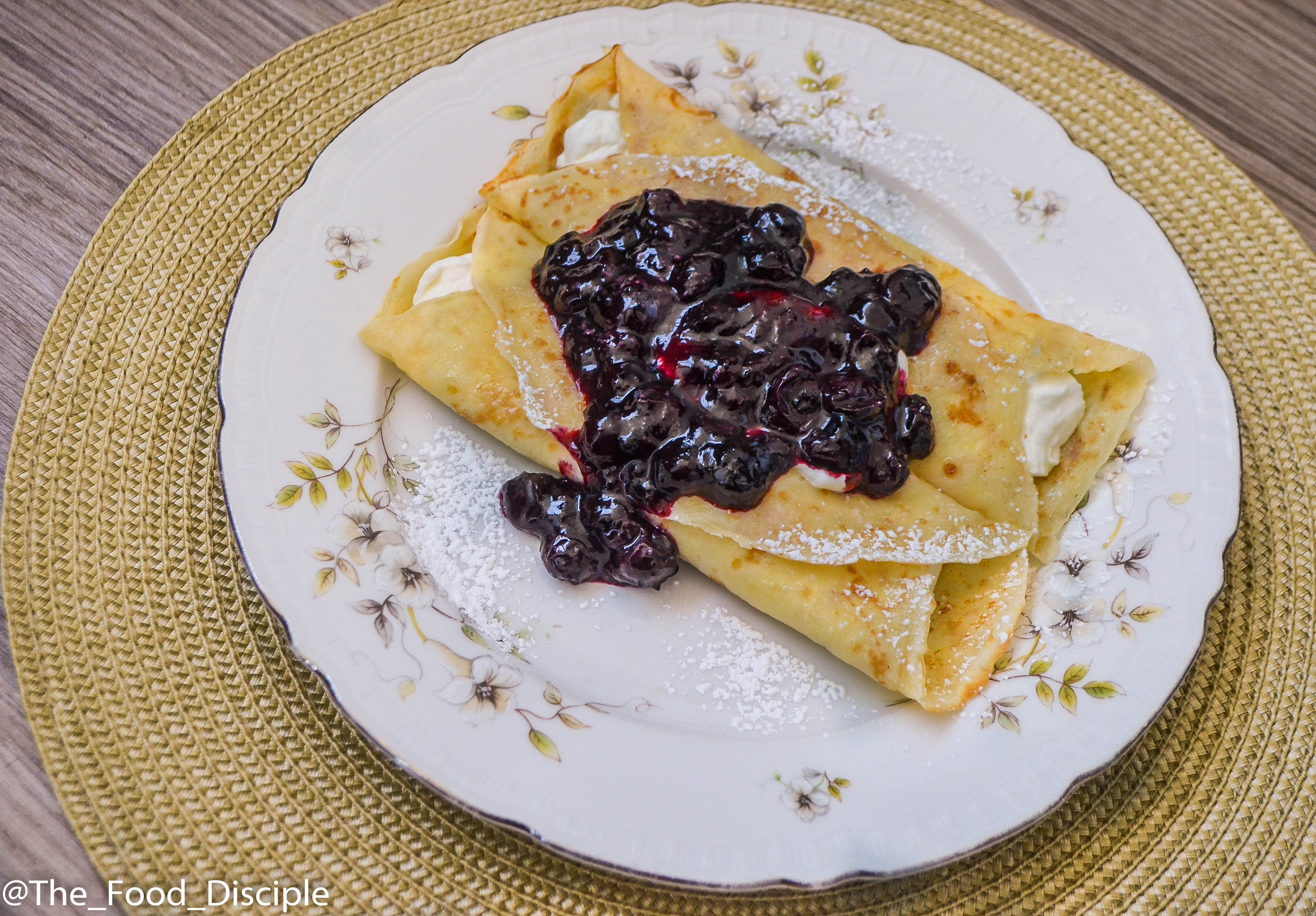 Crepes topped with Jelly Beans infused Blueberry Compote