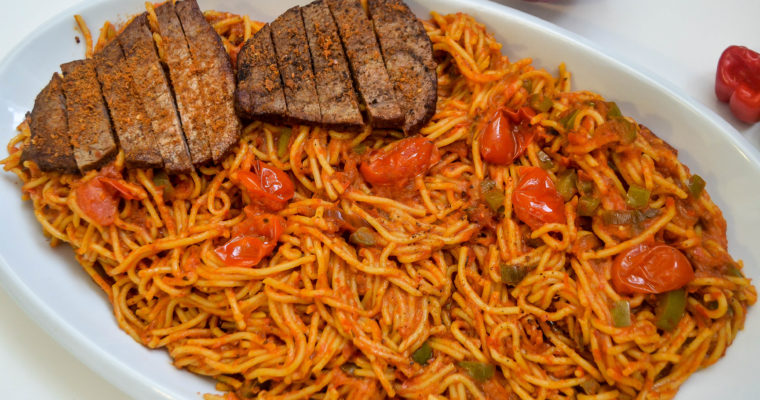 Jollof Spaghetti with Pan Seared Steak