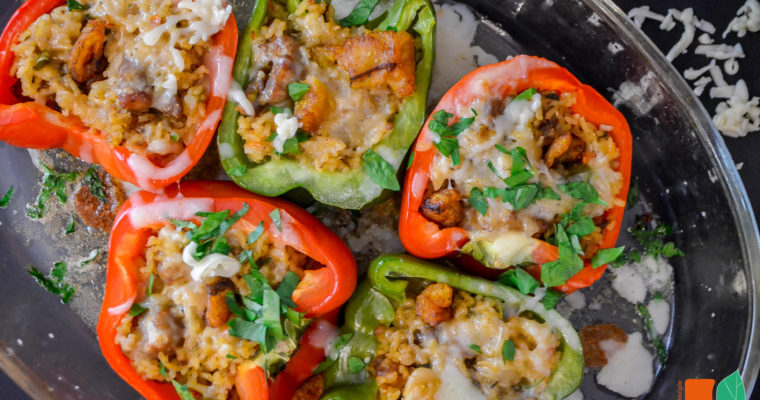 Pork, Rice & Plantain Stuffed Peppers